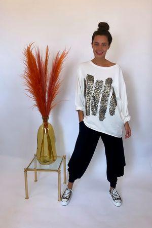Magic Leopard Paint Cocoon Top Warm White
