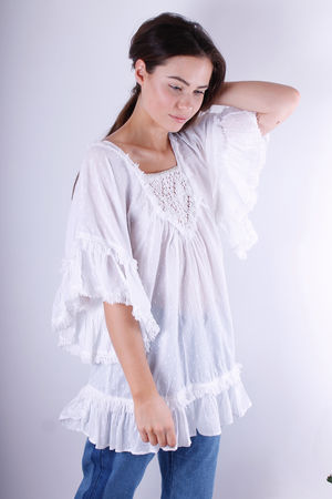 Maho Gold Trim Cotton Tunic White