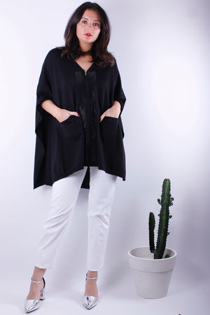Malissa J Black Diamonte Cardigan