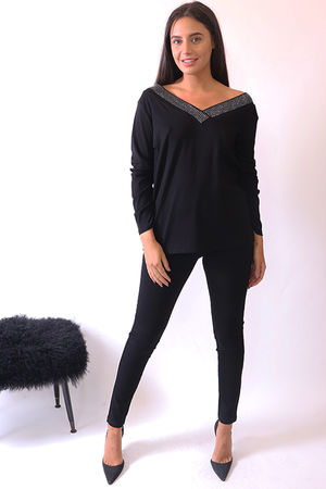 Malissa J Bling Deep V Fitted Knit