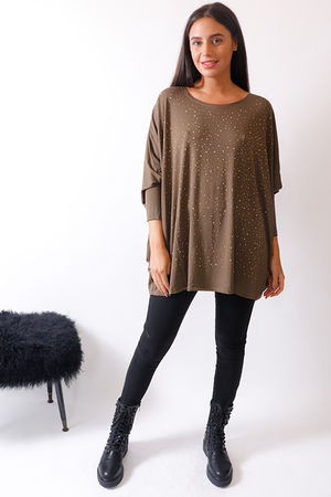 Malissa J Olive Batwing Scatter Bling Top
