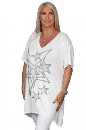 Malissa J Stars Diamanté Stud Top White