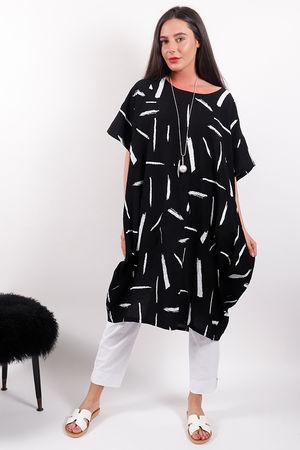 Malissa J White Lines Tunic Black