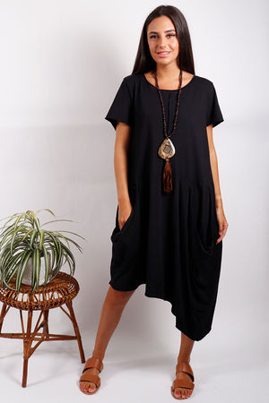 Malmo Asymmetric Pocket Dress Black