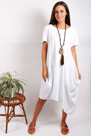 Malmo Asymmetric Pocket Dress White