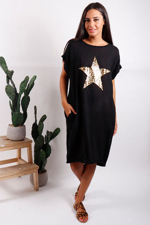 Malmo Leopard Star Dress Black