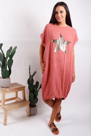 Malmo Leopard Star Dress Terracotta
