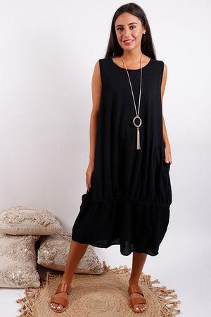 Malmo Pull Tie Dress Black