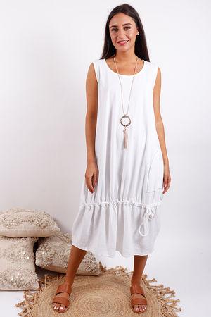 Malmo Pull Tie Dress White