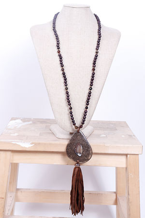 Malmo Resin And Bead Tassel Necklace Espresso