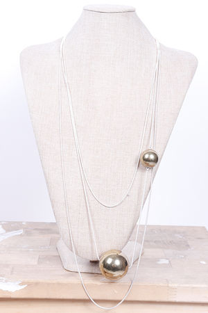 Malmo Three Layer & Ball Necklace Gold