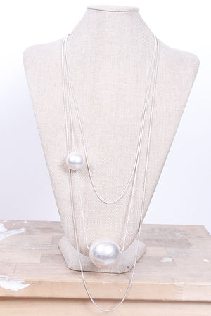 Malmo Three Layer & Ball Necklace Silver