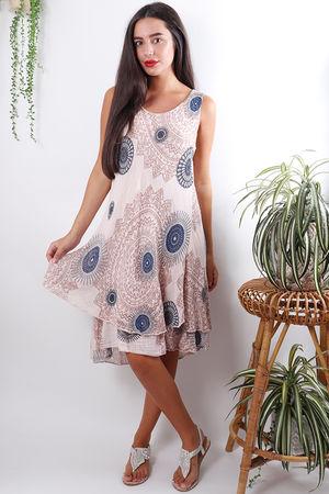 Mandala Cheesecloth Layered Dress Blush