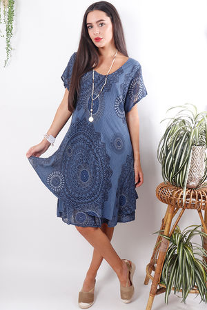 Mandala Cheesecloth Dress Dark Denim