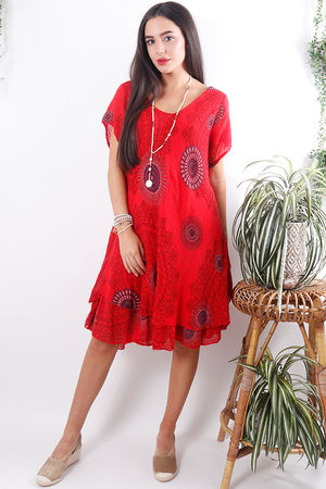 Mandala Cheesecloth Dress Dark Strawberry