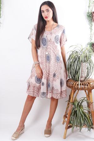 Mandala Cheesecloth Dress Faded Blush