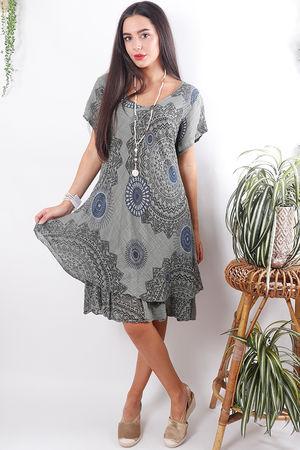 Mandala Cheesecloth Dress Faded Khaki