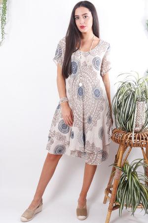 Mandala Cheesecloth Dress Sand