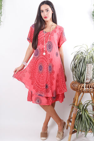 Mandala Cheesecloth Dress Faded Sunrise