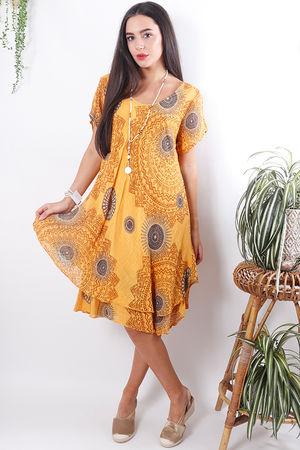 Mandala Cheesecloth Dress Faded Sunshine