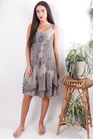 Mandala Cheesecloth Dress Faded Taupe
