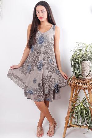 Mandala Cheesecloth Layered Dress Mocha