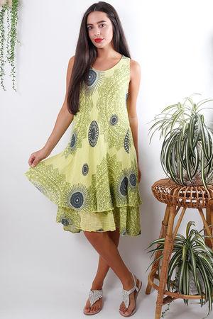 Mandala Cheesecloth Layered Dress Lime