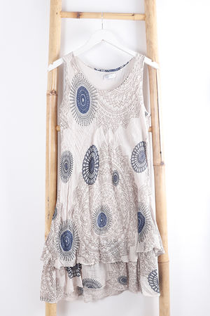Mandala Cheesecloth Layered Dress Oat