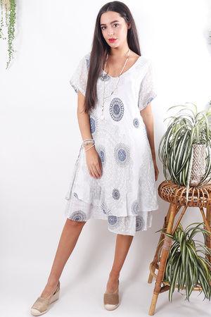 Mandala Cheesecloth Dress White