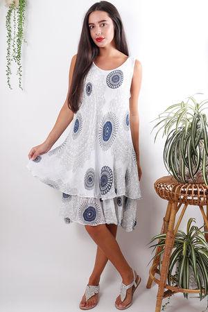 Mandala Cheesecloth Layered Dress White