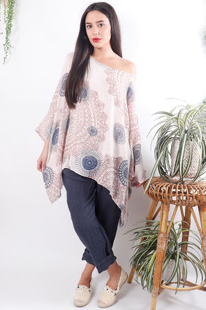 Mandala Cheesecloth Top Faded Rose