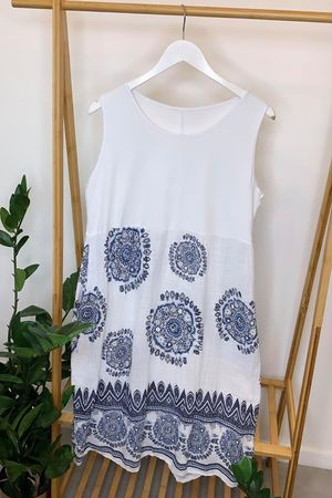 Mandala Cocoon Vest Dress White