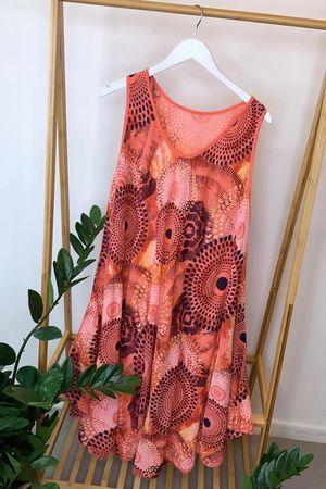Mandala Midi Swing Dress Coral