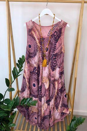 Mandala Midi Swing Dress Indian Rose