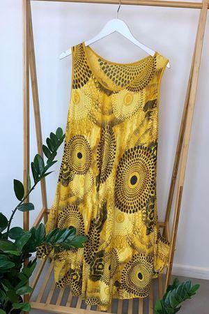 Mandala Midi Swing Dress Mustard