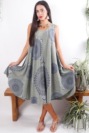 Mandala Shift Dress Soft Khaki
