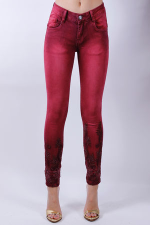 Marant Embroidered Jeans Burgundy