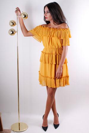 Marianne Ruffle Bardot Dress Spice