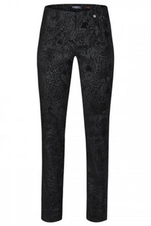 Marie Faux Suede Paisley Trousers Black