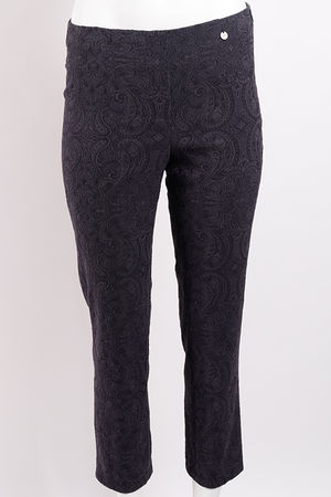 Robell Marie Jacquard Trouser Anthracite