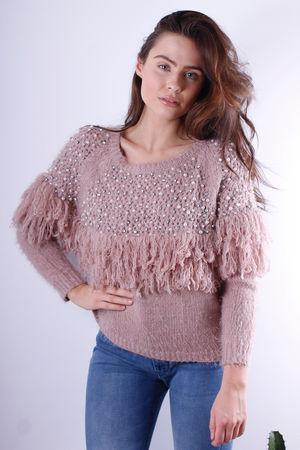 Marnie Embellished Fringe Knit Rose