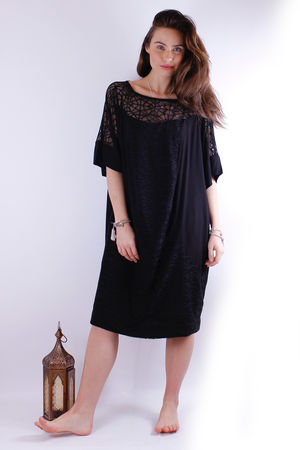 Mat. Cobweb & Crepe Tunic Dress Black