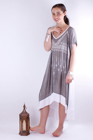 Mat. Crepe V Henna Dress Grey & White