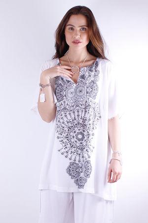 Mat. Monochrome Henna Kaftan Style Top
