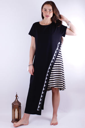 Mat. Stripe Asymmetric Design Cotton Dress