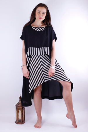 Mat. Striped Layered Tunic Black & Cream