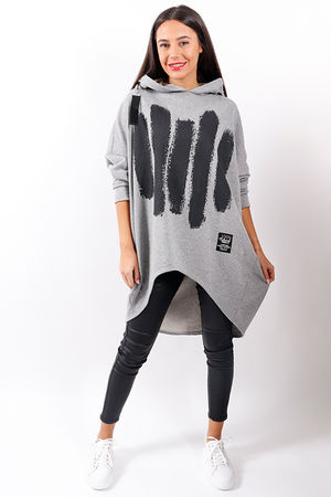 Made In Italy Mercer 5 Lines Oversized Hoody Grey