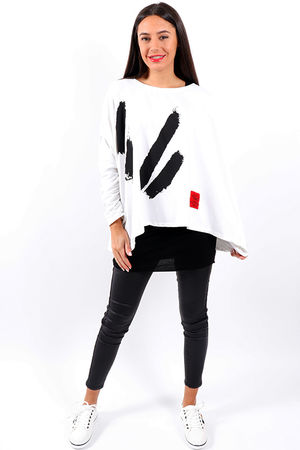 Made In Italy Classic Mercer Black Lines Sweat White