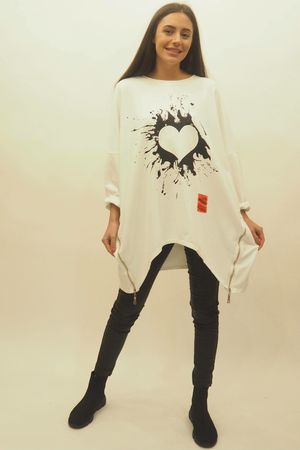 Mercer Oversized Graffiti Heart Sweat White