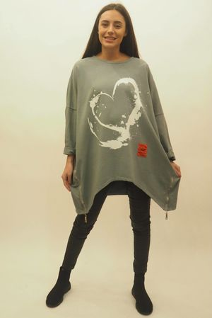 Mercer Oversized Splashed Heart Sweat Steel